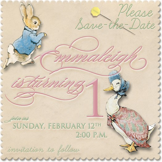 Babys First Birthday Party Saving the Date Celebrating – Beatrix Potter Birthday Invitations