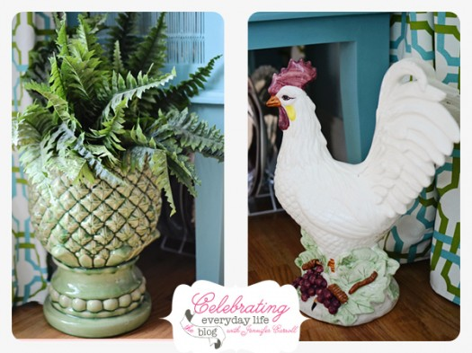 Fern Planter and Chicken Statue