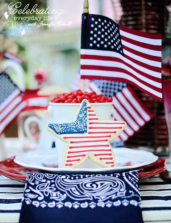 Star cookie decorated with the US Flag, Red, white and blue Flag placesetting with navy blue bandana