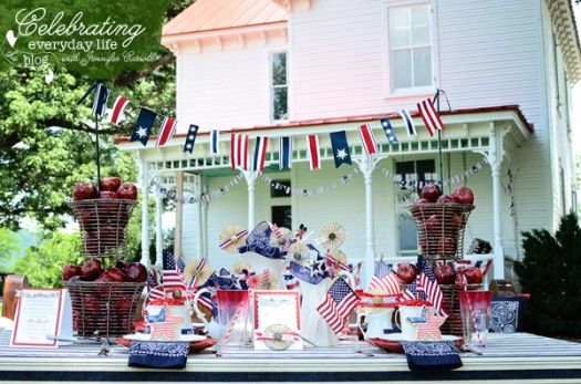 4th of July table with flag banner, star cookies and lots of red, white and blue accents!