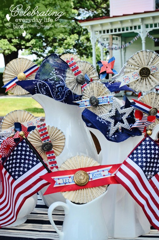 Pinwheels, Paper Medallions, Vintage Buttons, Flags & Blue Bandanas make a festive 4th of July centerpiece!