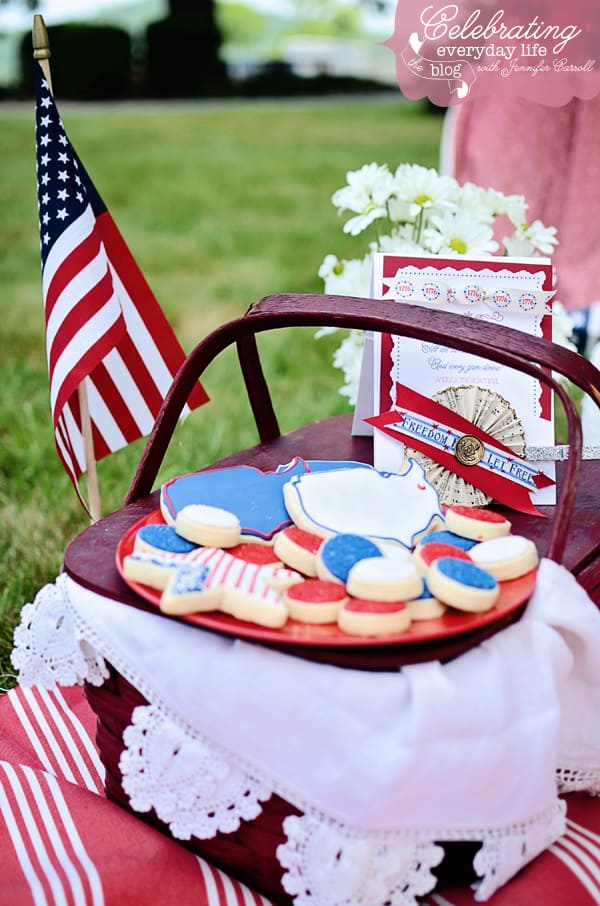 4th of July cookies from One Creative Cookie, Patriotic cookie shapes including star, united states and round coins