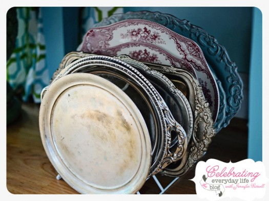 Silver, Red Transferware, and Blue Vintage Platters
