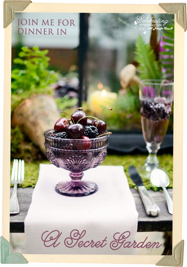 Blackberries and Cherries in Purple Glass Bowl, Berries in Champagne, Secret Garden Table, Whimsical Storybook Table, Moss covered table, Moss Table Runner