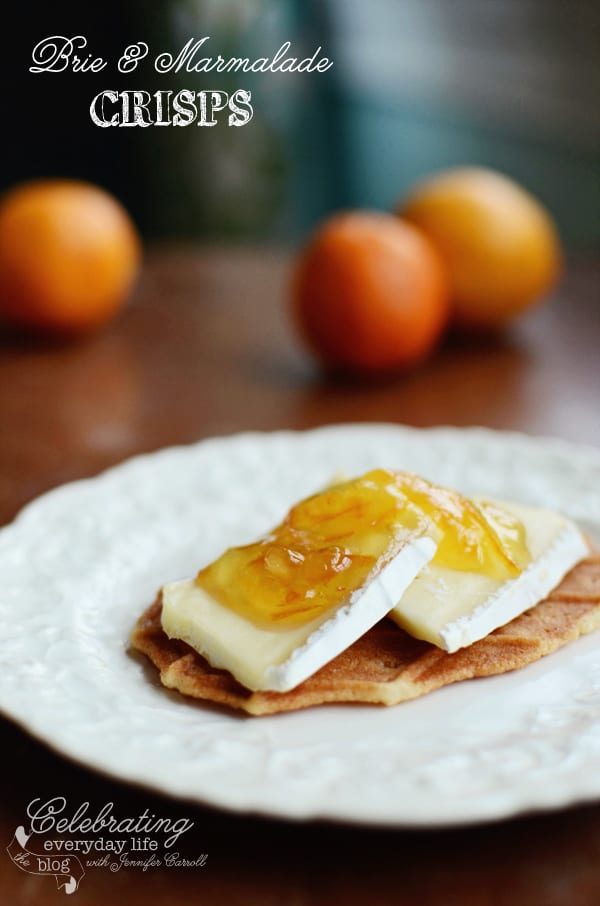 Brie Cheese & Orange Marmalade on a Butter Crisp, Sweet & Savory Summer Appetizer