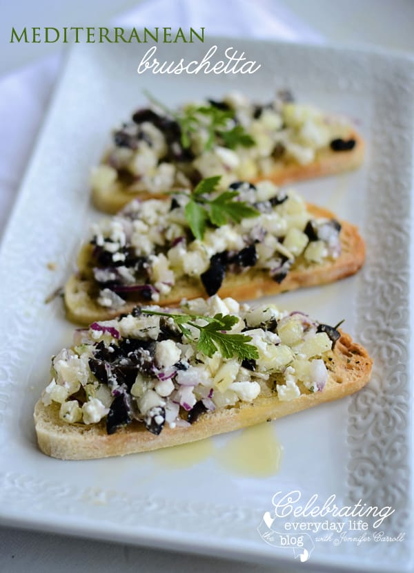 Mediterranean Bruschetta with Cucumbers, Red Onion, Calamata Olives, Feta & Toasted Ciabatta Bread