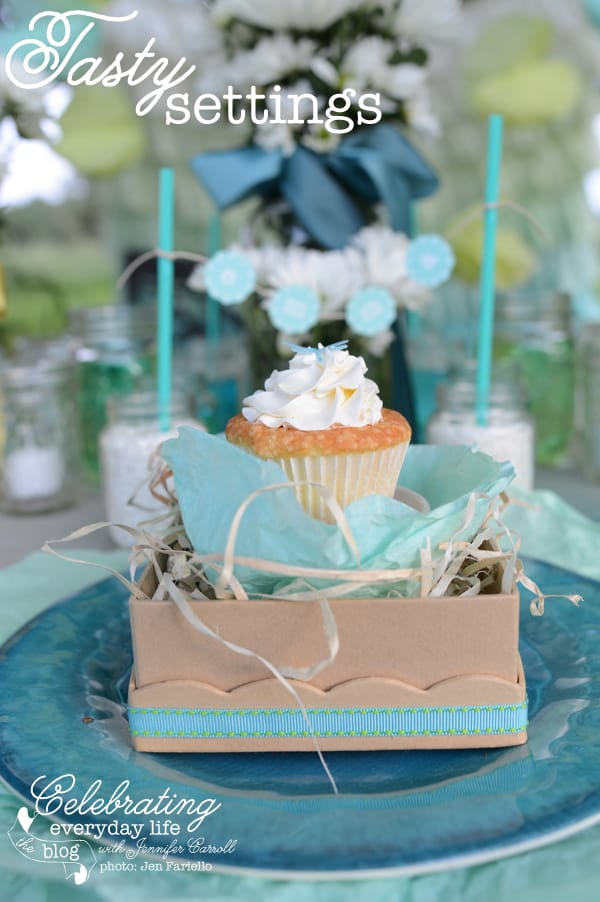 Cupcake in a boxed nest with hand dyed coffee filters, dessert under the stars party, cupcake favor