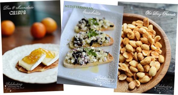 Brie & Marmalade Crisps, Mediterranean Bruschetta, Old Bay Peanuts, 3 easy Summer Appetizers