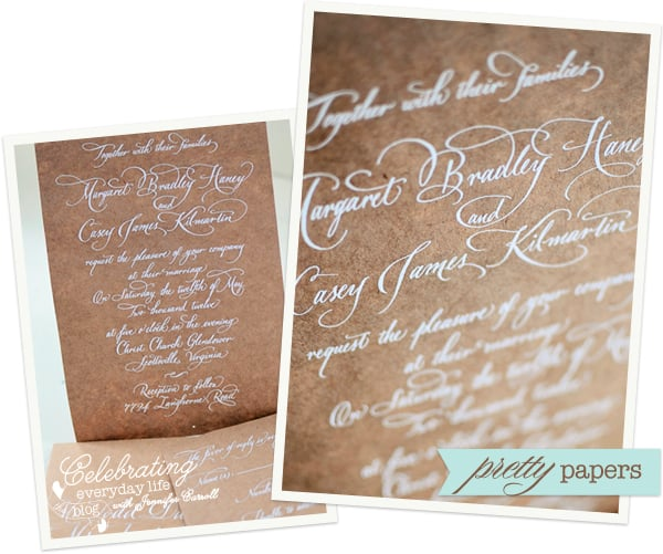 Kraft Paper invitations by If So Inklined, white ink calligraphy