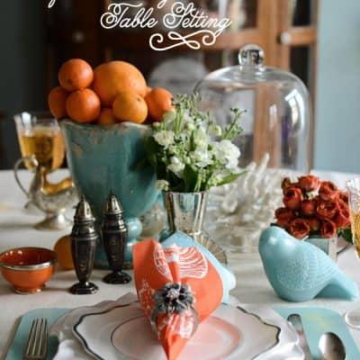 {For the Table} Aqua & Orange Table Setting