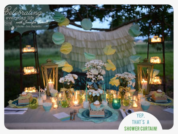 Dessert Under the Stars Party, Outdoor Party Decor ideas, Anthropologie Ruffle Ombre Shower Curtain