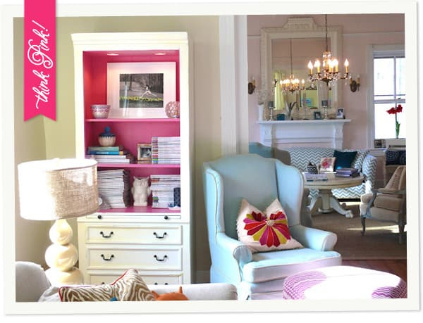 Pink Bookcase in Living Room at My Old Country House