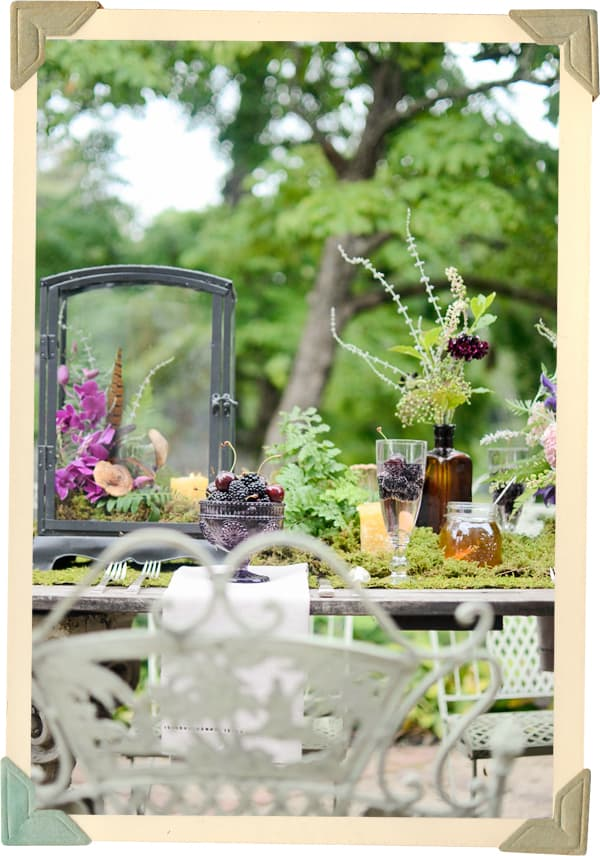 Blackberries and Cherries in Champagne, Lilac Champagne, Honey jar centerpiece, brown bottle centerpiece, brown bottle centerpiece, moss covered table, moss centerpiece, wildflower centerpiece, storybook table, fairy tale table, fern centerpiece, fern flower arrangement, mushrooms and ferns in lanterns, blackberries and cherries in glass pedestal