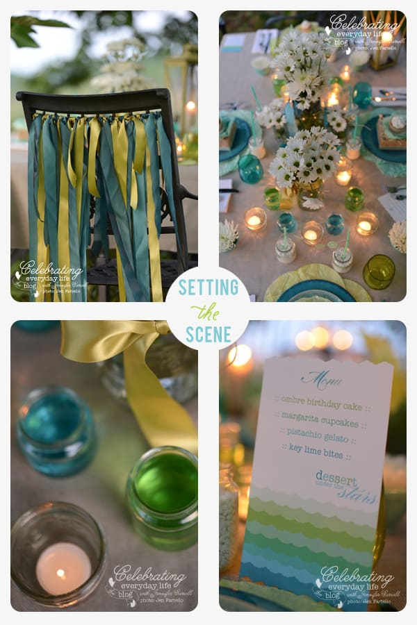 Dessert Under the Stars Party, Ribbon Chair, Colored Jars, Mason Jar flowers, Mason jar candles, ruffled menu, ombre menu, aqua and lime party scheme