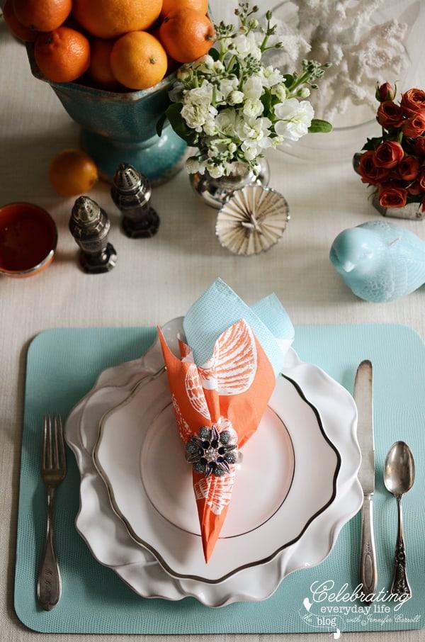 For The Table Aqua Amp Orange Table Setting Celebrating