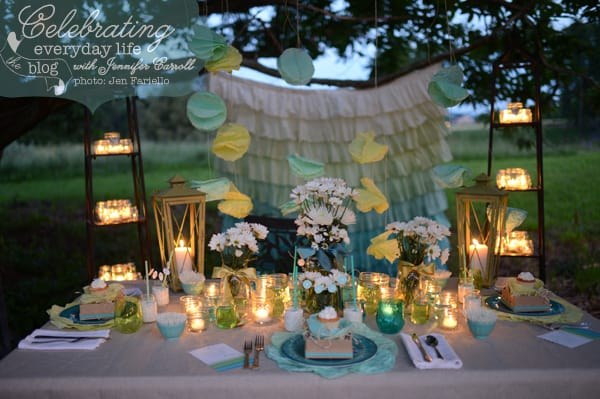 Dessert Under the Stars Party, DIY Coffee Filter Decorations, Daisy Centerpieces, Colored Mason Jars, Aqua and Lime color scheme