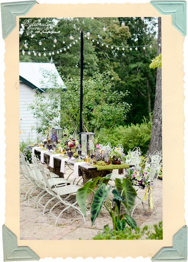 Secret Garden Table, Whimsical Storybook Table, Moss covered table, Moss Table Runner, Mushroom Centerpieces, Lantern Centerpieces, Cafe lights over table outside
