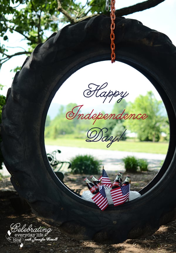Tire Swing with ice cold Coca-Cola's and American Flags for a good old fashioned 4th of July party from CelebratingEverydayLife.com