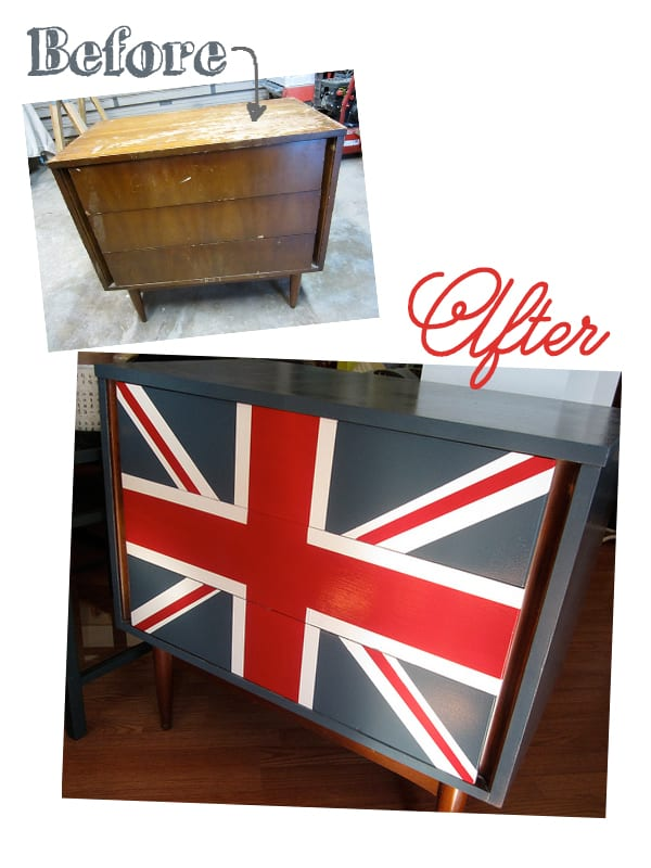 Union Jack Dresser makeover from Decor Adventures