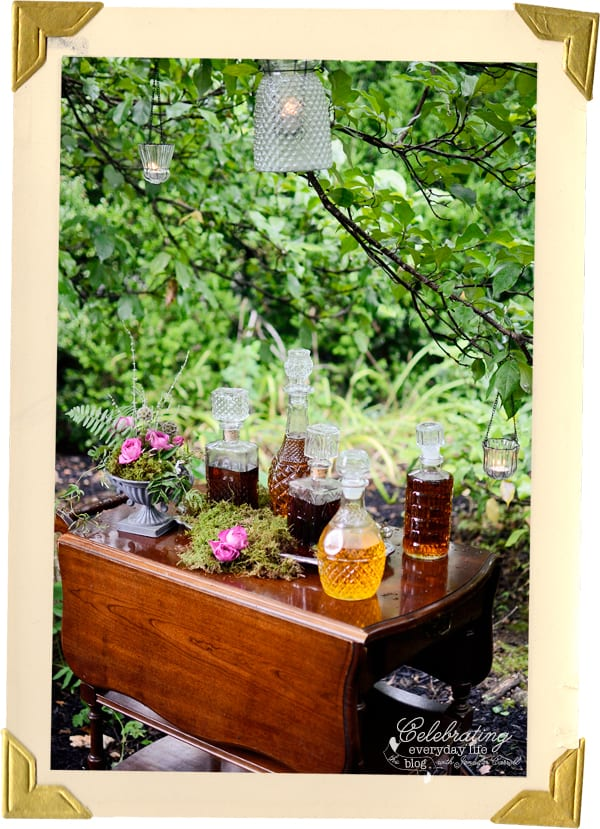 Woodland bar, alcohol bar, bar cart, wooden bar cart, whiskey bar, liquor bar, cut glass decanters