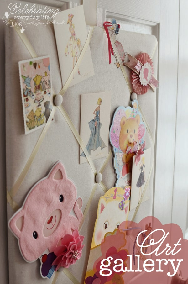 Cards and Art on French Memory Board on Closet Doors