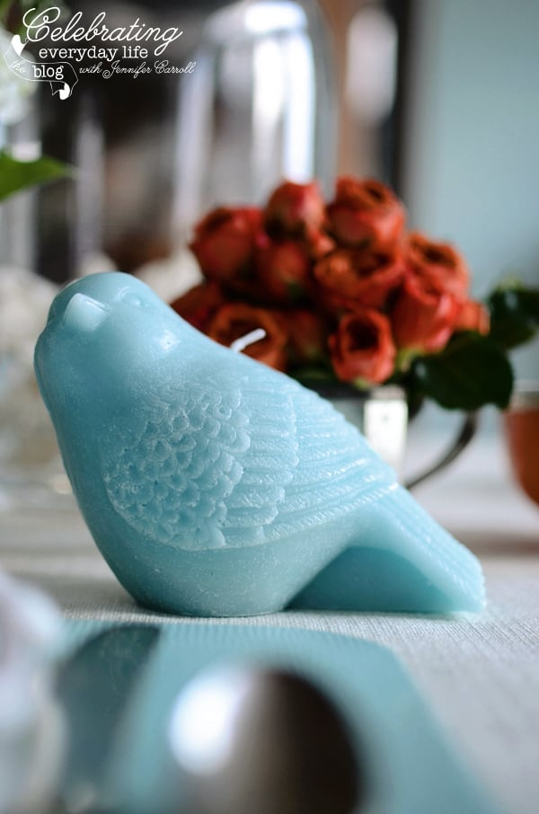 Wax bird candle in Aqua from Target