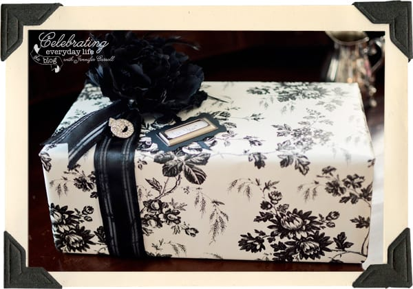 Black & White gift wrapping, glamorous gift wrapping, wrap an elegant gift, contact paper, creative use of contact paper, embellish gift wrapping