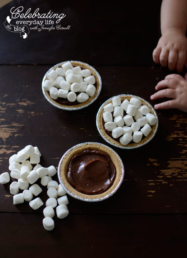 ingredients for mini s'mores pie, mini marshmallows, mini graham cracker pie crust shells, chocolate pudding, kid friendly recipe, kids in the kitchen, teach your child to cook