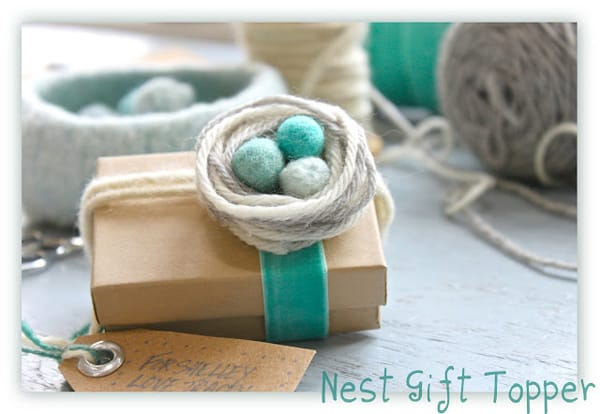 Nest of Yarn Gift embellishment, yarn birdsnest, helana and ali blog, tracey fisher craft