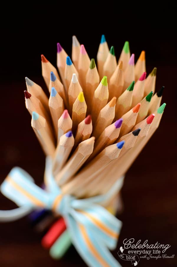 """I would send you a bouquet of newly sharpened pencils if I knew your name and address."" -Joe Fox (Tom Hanks) in You've Got Mail, Tom Hanks quote, You've Got Mail quote, back to school quote, Fall quote, Autumn Quote, Pencil Bouquet, Colored Pencil bouquet, school supply image, Nora Ephron quote"