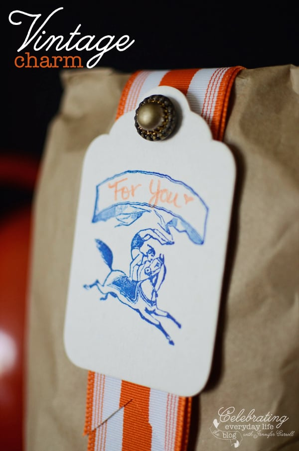 Letterpress Tag with Vintage button and orange ribbon, how to dress up a paper sack