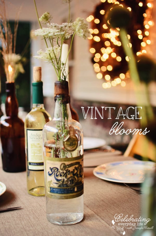 Porch Party, Dinner on the Porch, Dinner Outside, Dinner Al Fresco, burlap tablecloth, wine bottle centerpiece, candles in bottles, vintage dinner plates, mix and match plates
