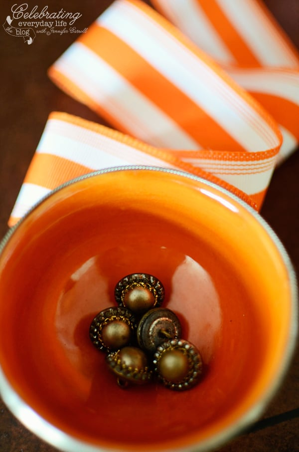 vintage buttons with orange ribbon