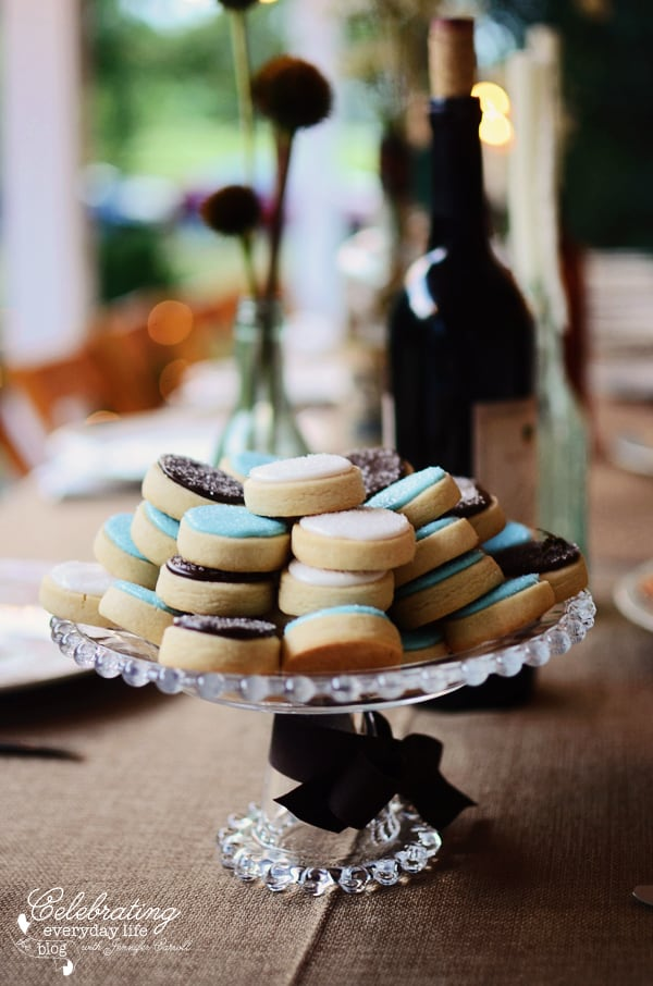One Creative Cookie, cookie platter, footed platter of cookies, blue & brown cookies