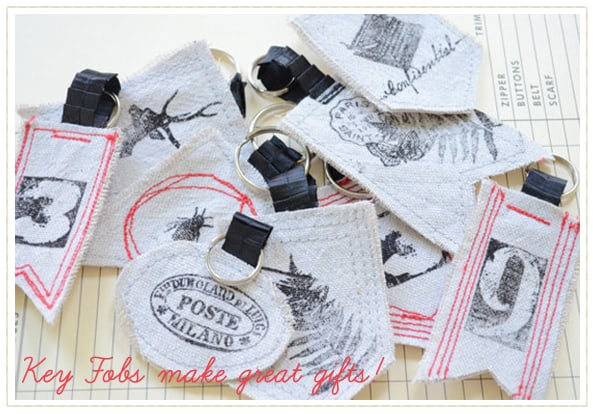 hand stamped and sewn key fobs from Sew a Fine Seam etsy shop