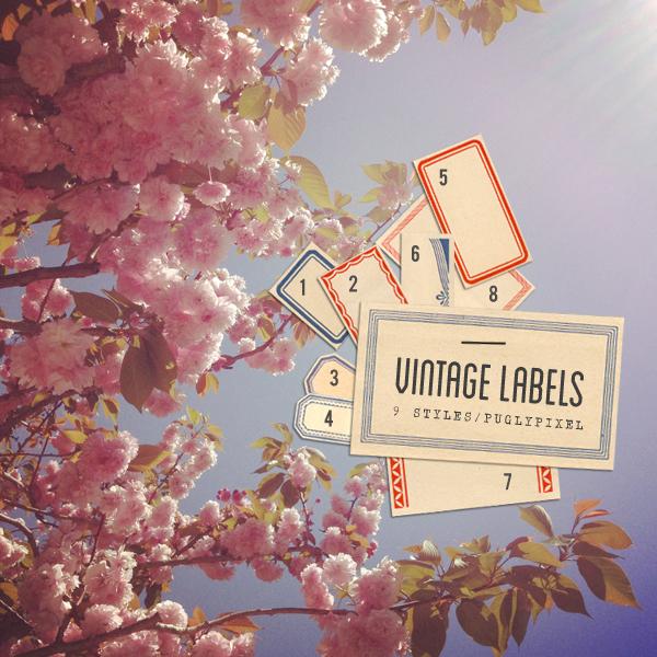 pugly pixel vintage labels
