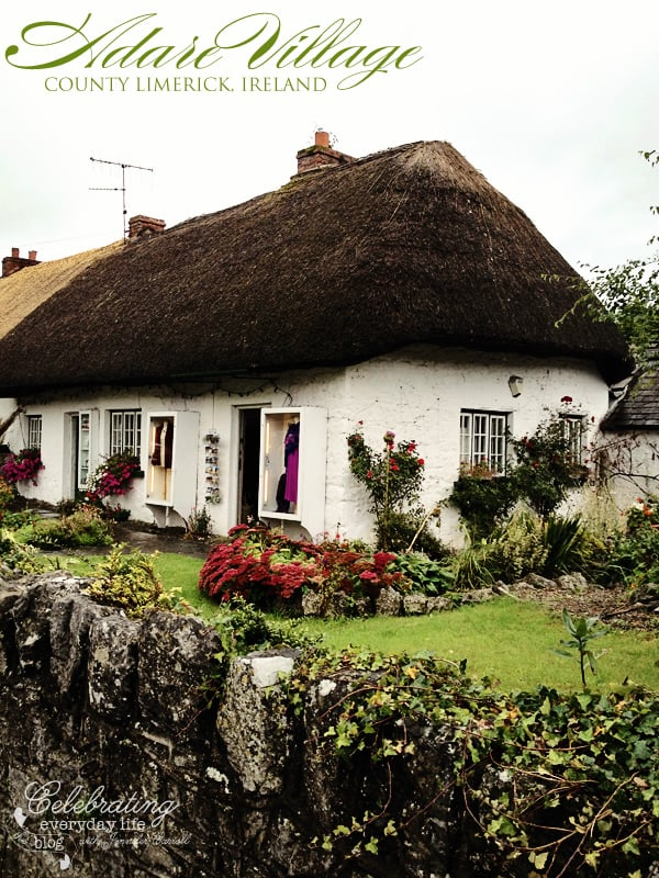 Adare Village, thatched roof cottage