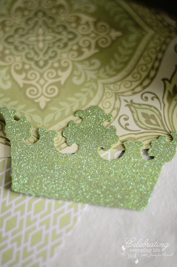 Glitter crown with K & Company scrapbook paper