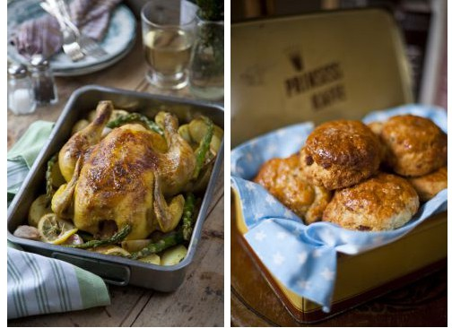 Donal Skehan recipes, One Tray White Wine Chicken Roast with Zesty Potatoes and Asparagus & Maple Bacon Buttermilk Scones