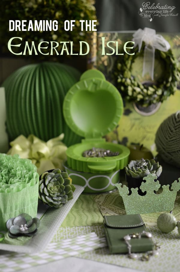 Inspired by Green, Green Colorstory, Green lantern, green succulents, green pie mold, boxwood wreath, green crepe paper