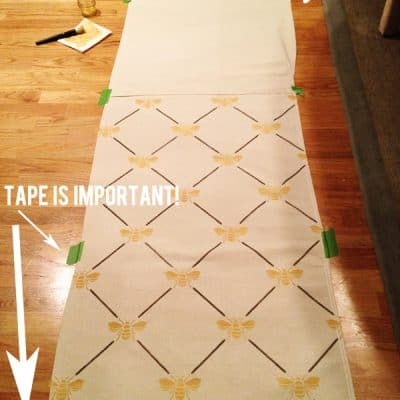 How to Make a Custom Stenciled Table Runner from a Drop Cloth!