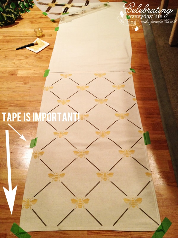 how to make a custom stenciled table runner from a drop cloth celebrating everyday life with. Black Bedroom Furniture Sets. Home Design Ideas