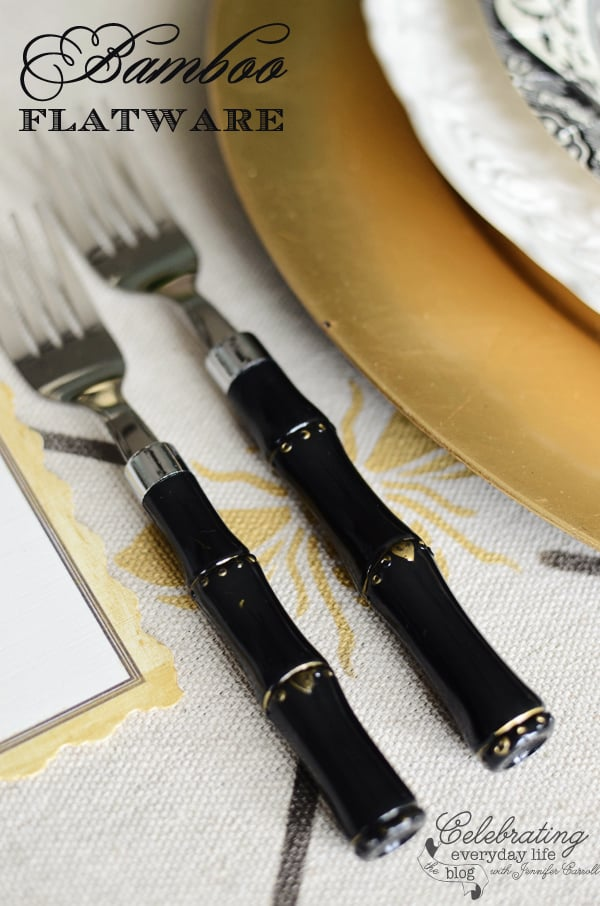 black bamboo flatware from Caspari