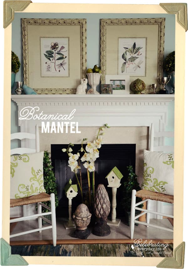 Botanical Inspired Mantel, Blue & White Mantel