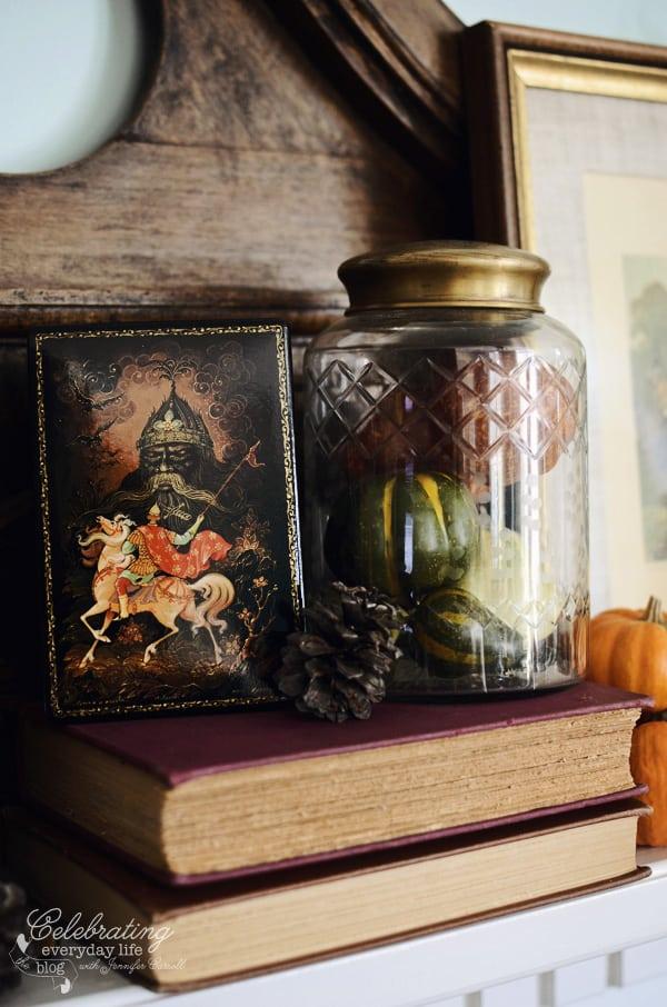 Russian Lacquer Box, Fall Decor Ideas, Autumn Decor Ideas, Anthropologie glass jar