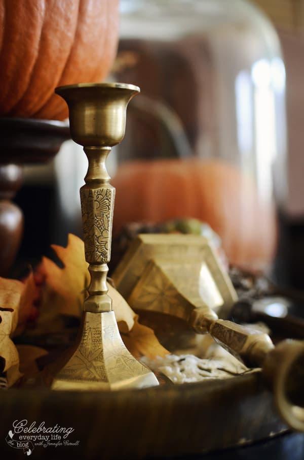 small brass Candlesticks, autumn decor ideas, fall decor ideas