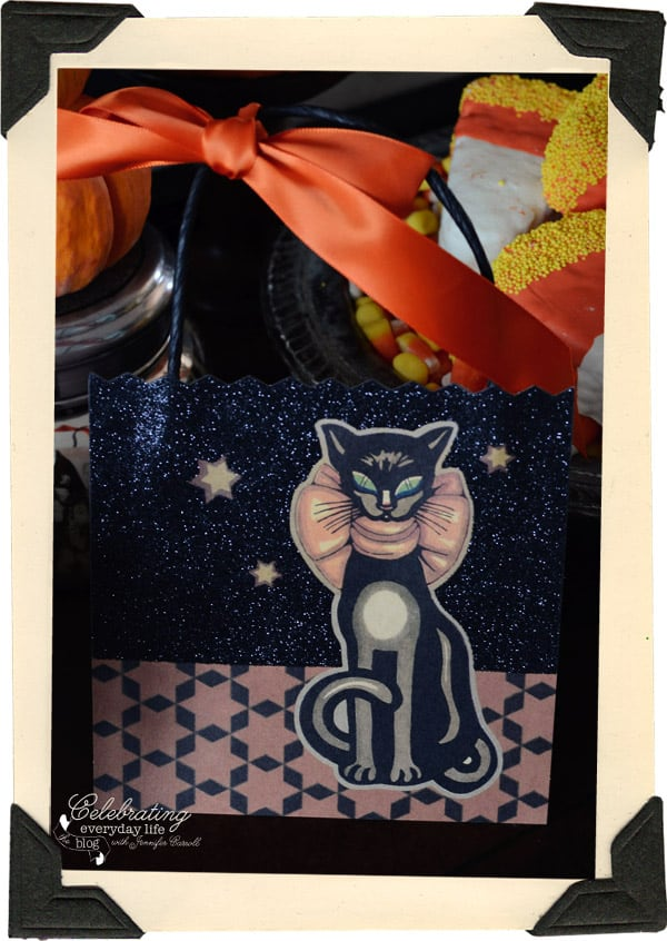 vintage halloween greeting card, black cat halloween card