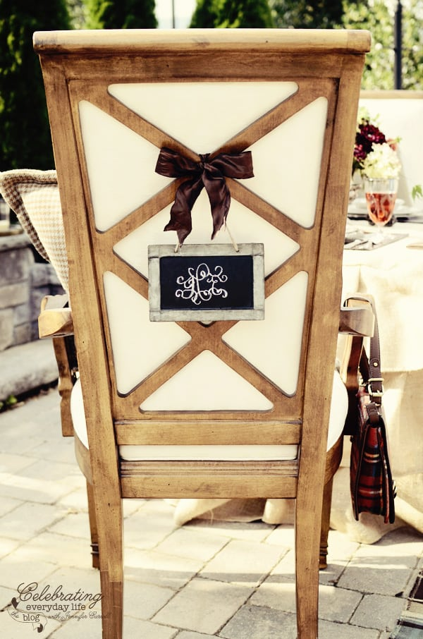 Lattice Back chair with Chalkboard placecards for Romantic Ralph Lauren inspired dinner for two