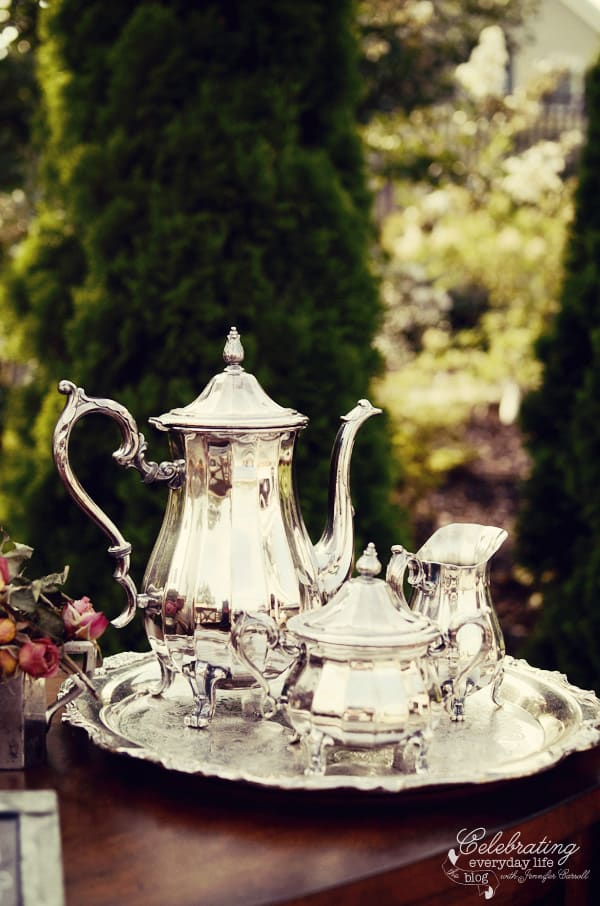 Antique Silver Coffee Service for Ralph Lauren inspired dinner for two, Tally-ho tete-a-tete, equestrian dinner