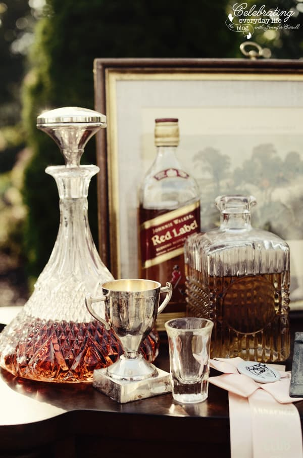 Vintage cut-glass Decanters at Ralph Lauren inspired dinner for two, Tally-ho tete-a-tete